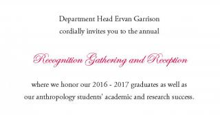 Department Head Ervan Garrison invites you to the Recognition Gathering and Reception