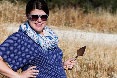 Suzanne Pilaar Birch in the field in Cypress at six months pregnant.