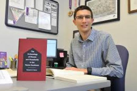 "Ben Steer with his book, ""The Archaeology of Houses and Households in the Native Southeast"""