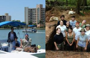 left section: Florida boat ride; right section: students standing in Singer-Moye grid